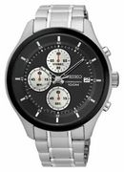 Seiko Men's Chronograph Black Dial Stainless Steel Watch at Ebay