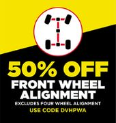 Get 50% off Front Wheel Aligment at National Tyres and Autocare