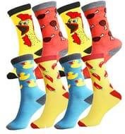 4 Pairs Gift Pack Men's Funky Novelty Multi Design Socks UK 6-11 EUR 39-45