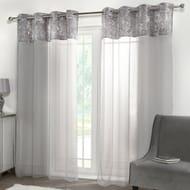 "Crushed Velvet Eyelet Voile Curtains 55""x87"""