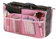 Travel Organiser Insert Tidy Cosmetic Handbag Pink
