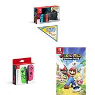 Nintendo Switch Neon with £30 Nintendo E-Shop Credit, Game, Controller Bundle