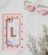 White Marble Effect L Initial Case for iPhone 6/6s/7/8