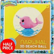 Inflatable Narwhal 3D Beach Ball
