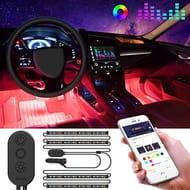 Prime Deals: Car Music LED Strip Upgrade Two-Line Design Waterproof 4pcs 48 LED