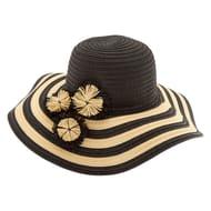 Striped Floppy Hat - Black Half Price