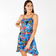 Blue Vanilla Blue Foral Frill Wrap Skirt Dress