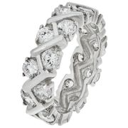 Revere Sterling Silver CZ Criss-Cross Eternity Ring