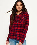 Womens Superdry Milled Flannel Shirt Ontario Navy Check (XS,S,M)