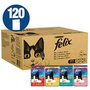 Felix - Mixed Meat and Fish, Cat Food (120 Pouches) PRIME DAY DEAL