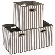 EZOWare Set of 3 Large Foldable Fabric Cube Stripe Storage Baskets