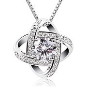 "Prime Day - Sterling Silver Cubic Zirconia Pendant Gemini 18"" Necklace £8"
