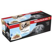 Sheba Fine Flakes in Jelly Wet Cat Food Pouches for Adult Cats X 40