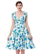Retro Women 50s Elegant Floral Prom Swing Midi Dresses GF01