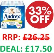 Andrex Classic Clean Toilet Tissue, 45 Toilet Rolls (39p a Roll)