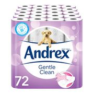 Andrex Gentle Clean Toilet Tissue, 72 Rolls