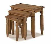 Mercers Furniture Corona Mexican Pine Piccolo Nest of Tables ( Code ) PARTY