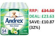 SAVE £10 & FREE DELIVERY - Andrex Skin Kind with Aloe Vera, 54 Toilet Rolls.