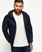 Mens Superdry Micro Quilted Hooded down Jacket Dark Navy (XL)