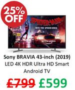 Sony BRAVIA 43-Inch LED 4K HDR Ultra HD Smart Android TV with Voice Remote