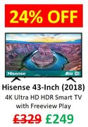 SAVE £80 - Hisense 43-Inch 4K Ultra HD HDR Smart TV with Freeview Play