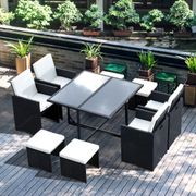 *SAVE over £200*Outsunny Rattan Dining Set, 9 PC-Black/Milk White with Code