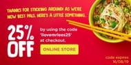 Get 25% off at Mr Lees Noodles