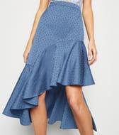 Blue Satin Spot Jacquard Ruffle Midi Skirt