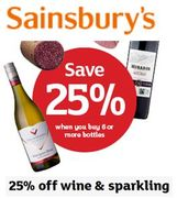 25% off Wine and Sparkling at Sainsbury's - When You Buy 6 Bottles +