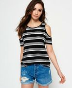 New Womens Superdry Sport Cold Shoulder Top Mono Stripe XS Only