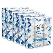 Amazon Brand - Presto! 3-Ply Quilted Toilet Tissues, 45 Rolls S&s