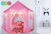 Kids' Princess Castle Tent with Star Lights Blue/Green/Pink