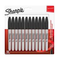 Sharpie Permanent Markers, Fine Tip, Black, 12 Pack