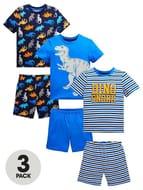 Mini v by Very Boys 3 Pack Dinosaur & Stripe Shortie PJs - Multi