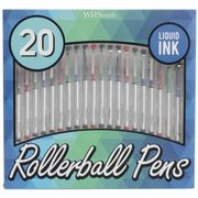 WHSmith Pack of 20 Rollerball Pens, Assorted Ink