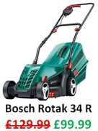 SAVE £30 - Bosch Rotak 34R Lawn Mower - 34cm Cut