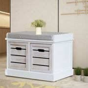 2 Drawer Bench Crate with Padded Seat