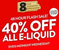 40% off ALL ELIQUID - Flash Sale!