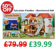 1/2 PRICE - SAVE £40. Sylvanian Families Beechwood Hall with real lights!