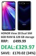 SAVE £170 - HONOR View 20 Dual SIM, 6GB RAM and 128 GB Storage