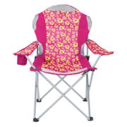 Yello Deluxe Padded Folding Beach Camping Chair with Cup Holder Pink.