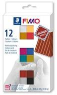 STAEDTLER FIMO Leather-Effect Oven-Hardening Modelling Clay, 12 Half Blocks
