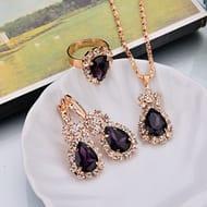 LnLyin Water Drops Necklace Earrings Ring Set Shiny Bride Jewelry,Purple