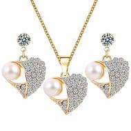 Women Lovely Heart Shape Pendant Inlaid Zircon Necklace Lever Earrings Jewelry