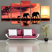5 Panel Africa Sunset Elephants Canvas 70% off + Free Delivery
