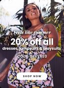 20% off Dresses, Playsuits and Jumpsuits