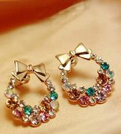 Colorful Shining Bling Crystal Rhinestone Cute Lovely Earrings