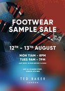 80% off Footwear Sample Sale - in Store 12th and 13th August Only