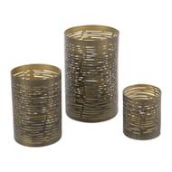Iron Votives - Set of 3 - Antique Green/Gold