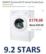 SAVE £20 + FREE DELIVERY: INDESIT Ecotime Vented Tumble Dryer *9.2 Stars*